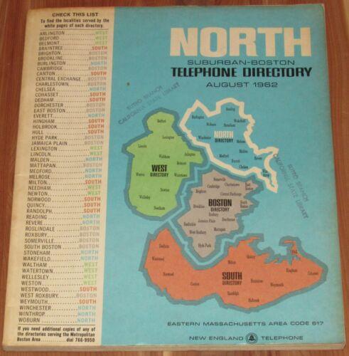 1962 MASSACHUSETTS TELEPHONE DIRECTORY, SUBURBAN-BOSTON NORTH