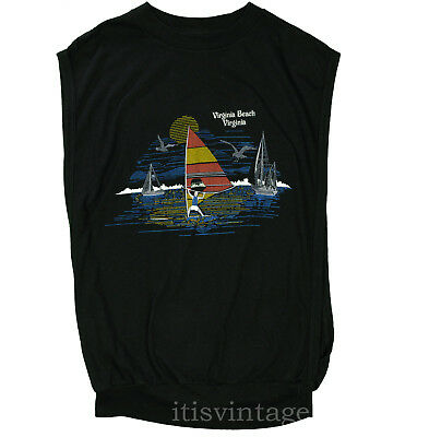 Virginia Beach Shirt 80's Vintage Windsurfing Sailboats Ocean Scene Large Tank