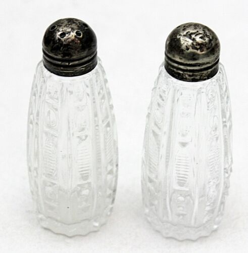 """Pair of Cut Crystal Salt & Pepper Sterling Silver Caps3 1/2"""" Tall Very Pretty"""