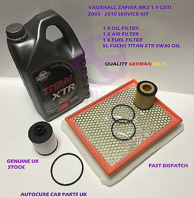 VAUXHALL ZAFIRA MK2 1.9 CDTI 05-10 SERVICE KIT OIL AIR FUEL + 5L ENGINE OIL