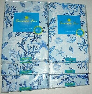 COASTAL Vinyl Tablecloth Assortment  STARFISH AND BLUE CORAL [Your Choice] (Blue Vinyl Tablecloth)
