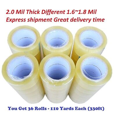36 Rolls Clear Packing Packaging Carton Sealing Tape 2.0 Mil Thick 2x110 Yards