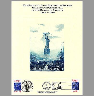 FSO1986A ABNC SCCS Souvenir Card Statue of Liberty Centennial Joint Issue 2224