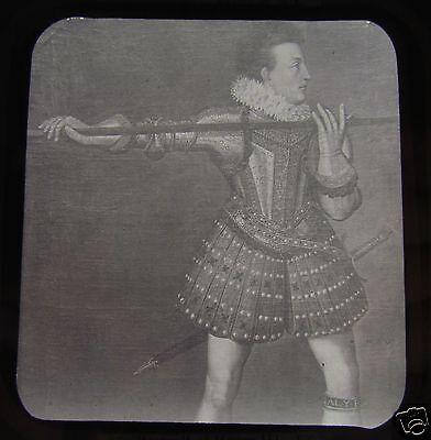 JV Glass Magic lantern slide KING HENRY III C1890 ENGLISH HISTORY