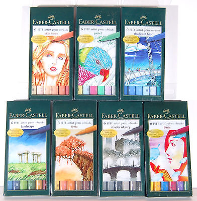 Faber Castell 6 Pitt Artist Pens Brush Tip Multiple Styles to Choose From