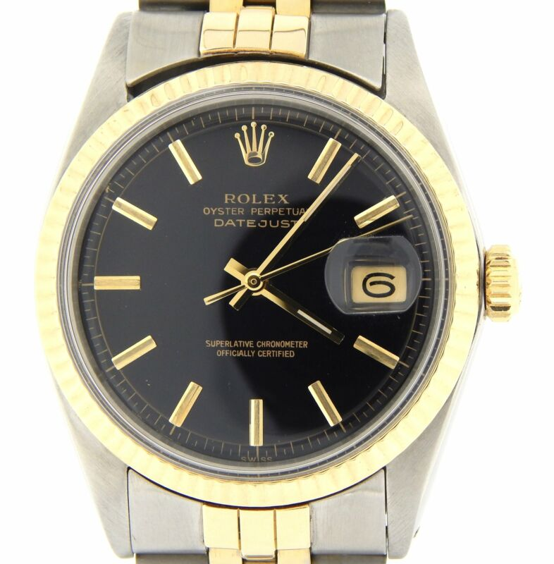 Rolex Datejust Mens Two-tone Yellow Gold Stainless Steel Watch Black Dial 1601