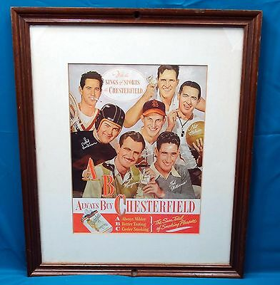 1950's Vintage Framed Sports Poster Print Ad w/Sports Stars of the Period - Framed Sports Poster
