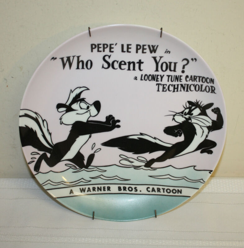 "Looney Tunes Classic Lobby Card Pepe Le Pew ""Who Scent You?"" Ceramic Plate"
