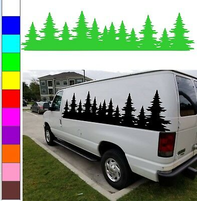 Christmas tree forest graphics decor for car, camper, RV, van, motor home, stock