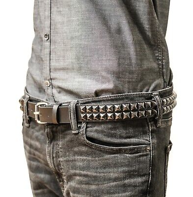 2 Row Black Gunmetal Pyramid Stud Belt Leather Punk, Metal,Thrash, Sid Vicious Stud Studded Black Belt