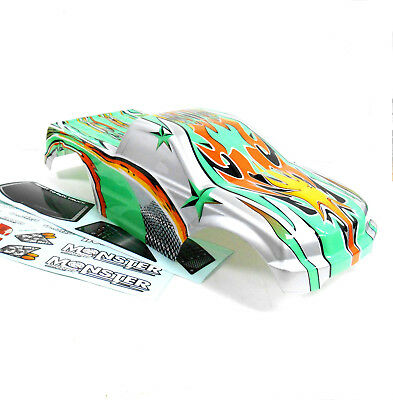 88002 RC 1/10 Scale Monster Truck Body Shell Cover HSP Green Flame Cut Narrow ()