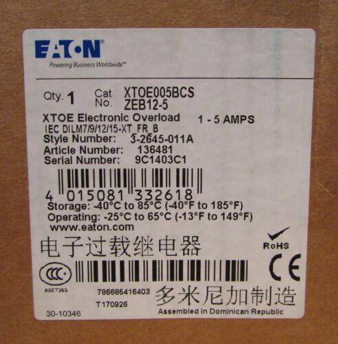 Eaton Cutler Hammer XTOE005BCS 1-5 Amp XTOE Electronic Overload Relay ZEB12-5