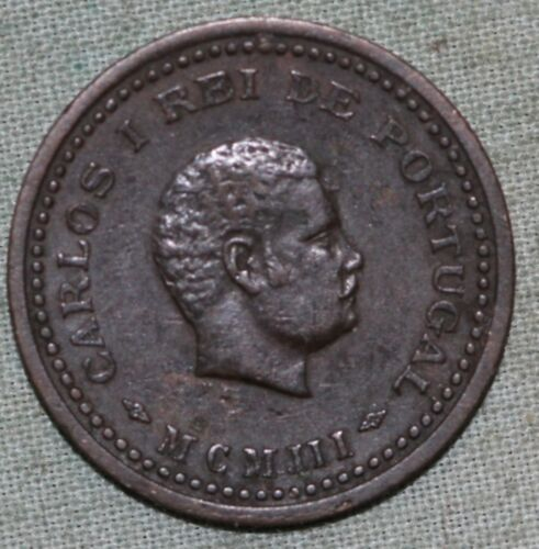1903 Portuguese India 1/12 One Twelth Tanga Bronze  Coin ~Portugal