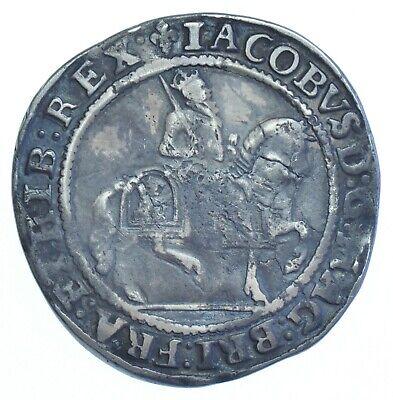 RARE JAMES I HALFCROWN (1604-05) mm. LIS, BRITISH SILVER HAMMERED COIN GF+