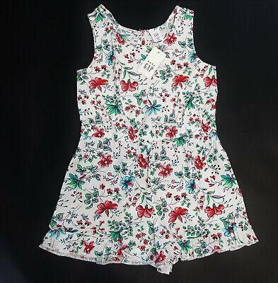 NWT Baby Gap Girls Size 12-18 Months or 2t White Flower Ruffle Hem Romper