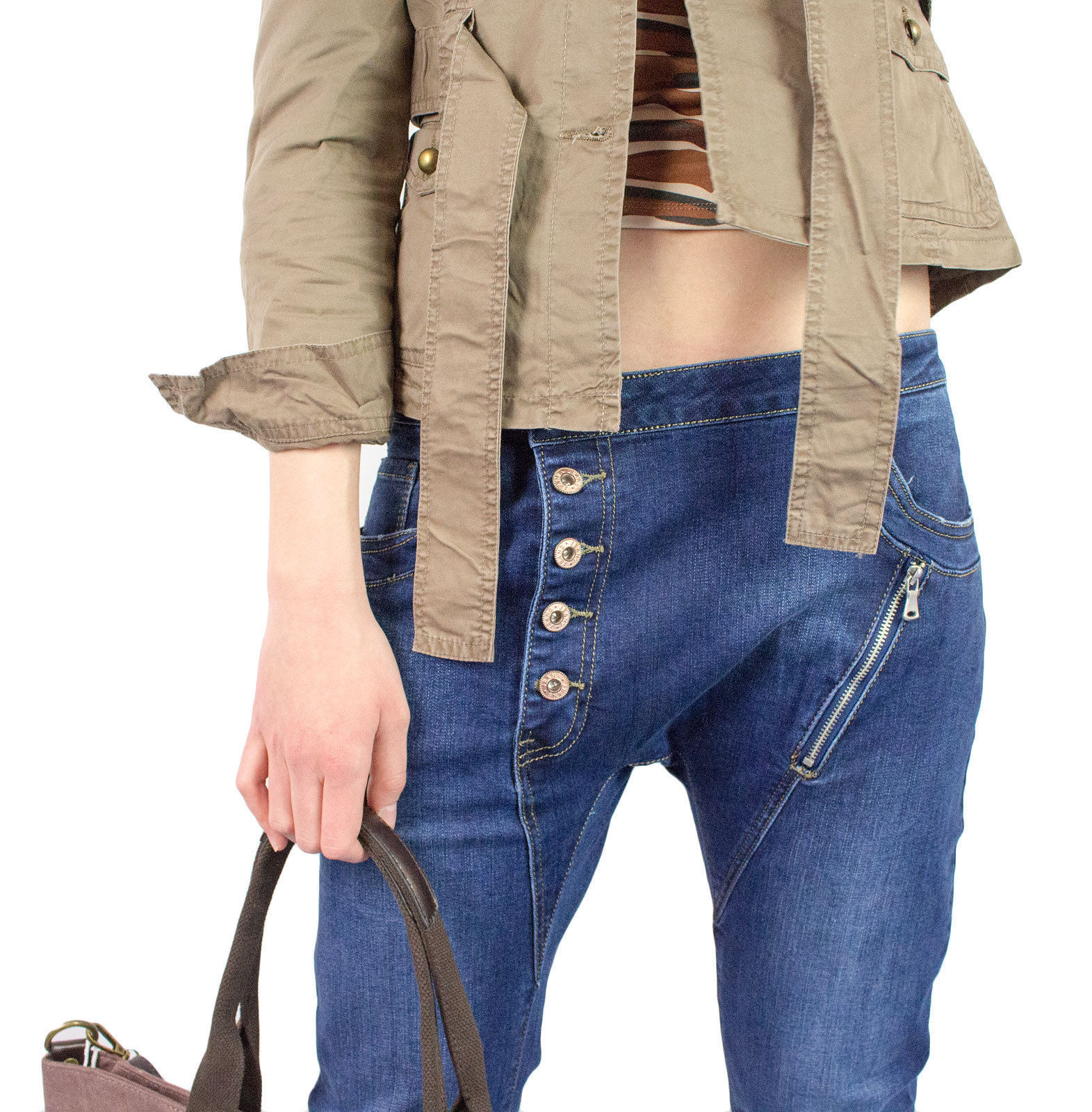 Damen Jeans Baggy Boyfriend Hose Chino Reißverschluss Knopfleiste Stretch Hüfte