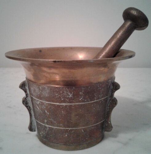 "Antique Brass 3 Handle Mortar & Pestle -  4 lbs 11 oz. - 4"" Tall - Very Rare!"