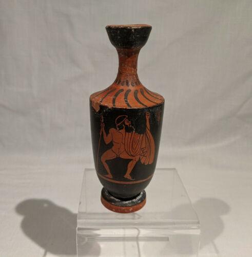 ANCIENT GREEK LEKYTHOS RED FIGURE URN, MUSCULAR NUDE MAN, Ca. 330 B.C - 450 B.C