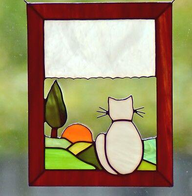 Tiffany Fensterbild *Katze am Fenster* Sonnenfänger Glaskunst Bild Handmade