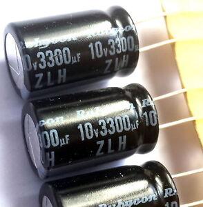 5 pieces, 3300uF 10v Rubycon (JAPAN) ZLH, 105°C, Electrolytic Capacitor -ref:189