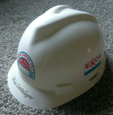 Exxon Company Safe Worker Hard Hat Plastic Helmet Adjustable Personalized Used