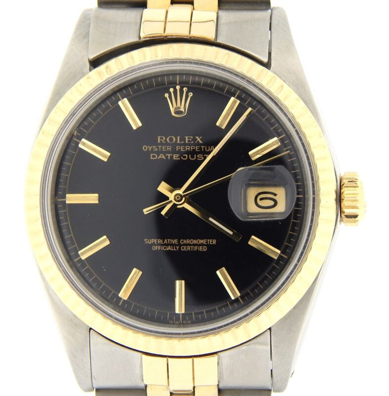 Rolex Datejust Mens Two-tone 14k Yellow Gold Stainless Steel W/ Black Dial 1601