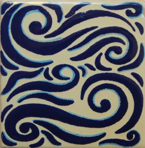 Mexican Tile Talavera Tiles High-Quality Hand Painted Blue White Tile T-43