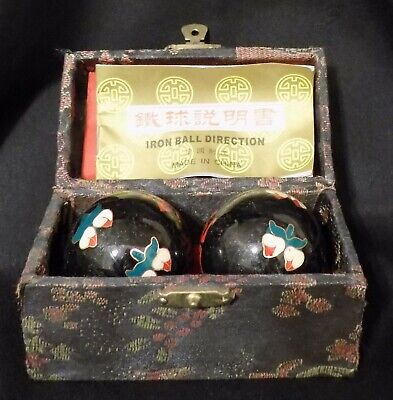 Vintage Chinese Iron Ball Direction Meditation Stress Relief Balls
