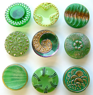 9 x 19mm Vintage Green Glass Buttons, Moonglow, Lustre, Enamel