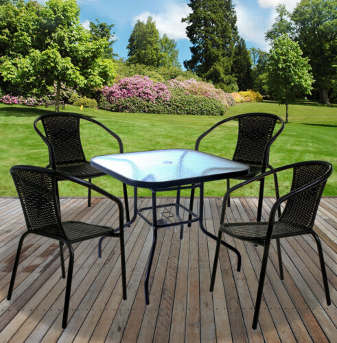 Garden Furniture - 5PC Outdoor Garden Furniture Set Wicker Rattan Stacking Large Round Glass Table