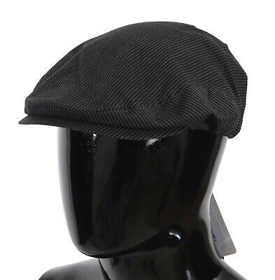 DOLCE & GABBANA Hat Gray Black Striped Cotton Stretch Newsboy Cap 59/L RRP $220