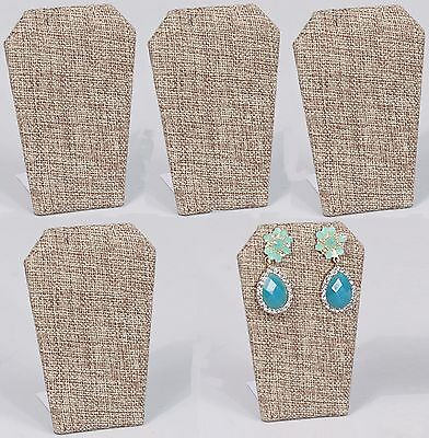 Lot Of 5 Burlap Earring Display Metal Base Pendant Stand Jewelry Display 3 14
