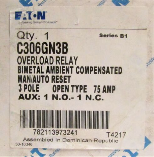 EATON CUTLER HAMMER C306GN3B 3 Pole 75AMP Overload Relay Manual Auto Reset