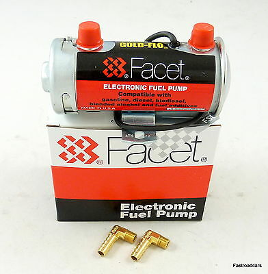 FUEL PUMP GENUINE FACET SILVER TOP UP TO 150 BHP NEW 476087E WITH UNIONS for sale  Shipping to Ireland