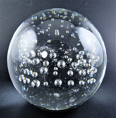 """Clear Glass Controlled Bubbles 3"""" Ball Paperweight (W5-2)"""