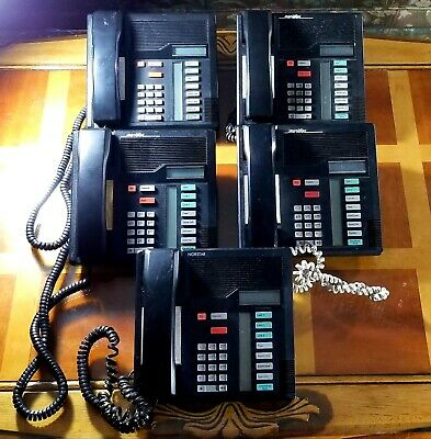 5 Black Norstar Nortel Meridian Business Phones Used - Mixed