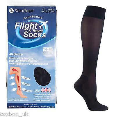 Flight Sock 40 Denier Ladies Travel DVT Compression Socks 4-7 Uk 37-40 Eur Black