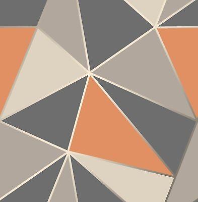 NEW Modern Geometric Apex Wallpaper Orange Grey Fine Decor (Orange Geometric Wallpaper)