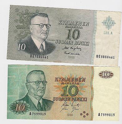 FINLAND - 10 MARKKAA, 1980 & 1963