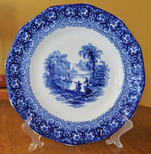 "Striking Antique Flow Blue Ironstone Staffordshire Plate Furnival Tivoli 10 5/8"""