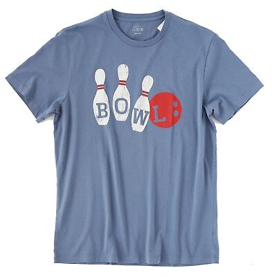 J Crew Factory - Mens L - NWT - Blue Bowling Pin Graphic Cotton Tee