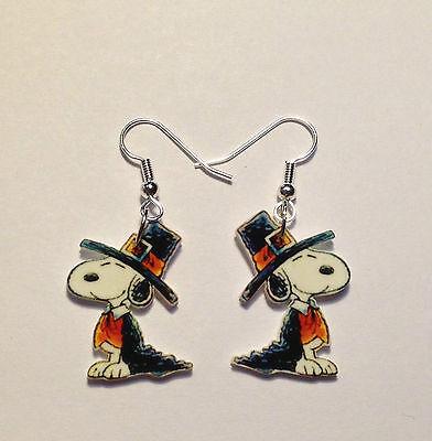 Pilgrim Snoopy Earrings Thanksgiving Charlie Brown Charms