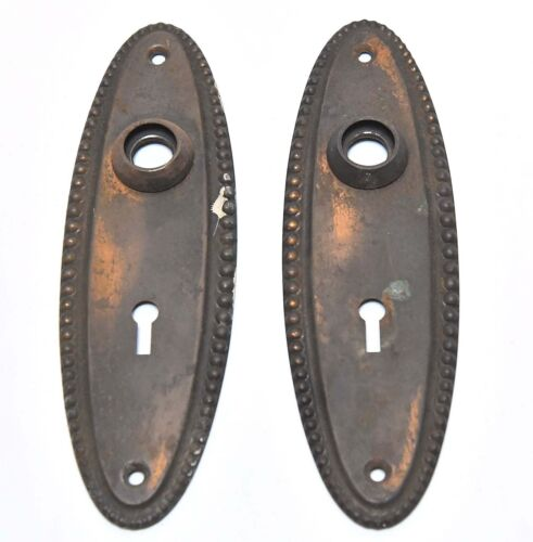 2 MATCHNG OVAL DOOR KNOB BACKPLATES WITH KEYHOLES