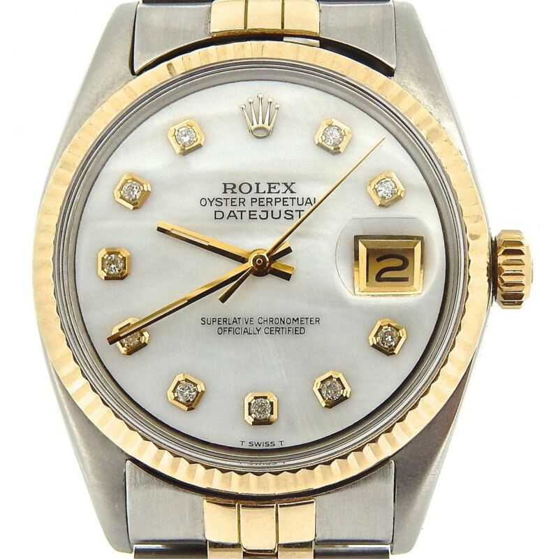 Mens Rolex 14k Gold/stainless Steel Datejust Jubilee W/white Mop Diamond Dial