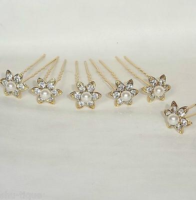 NEW 6 GOLD COLOUR HAIR PINS FLOWER DIAMANTE PEARL WEDDING BRIDAL PROM