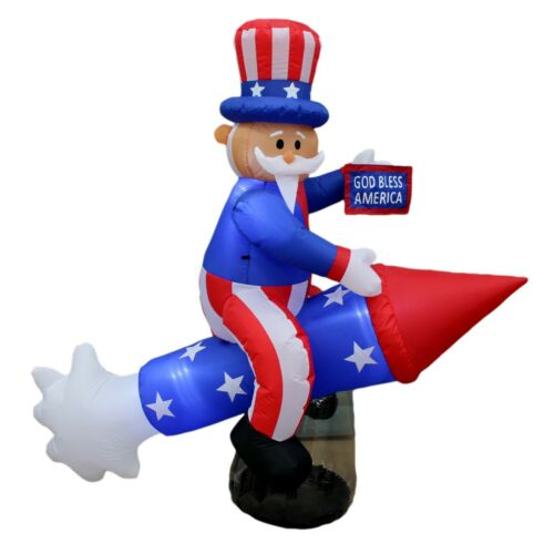 Patriotic Inflatable Independence Day Decoration Uncle Sam on Rocketship Blowup