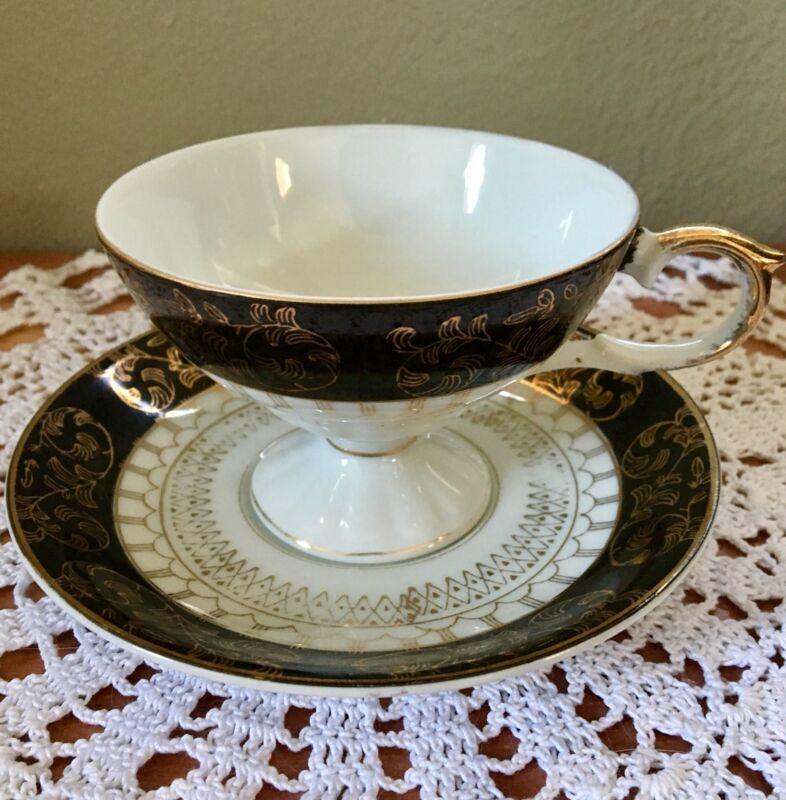 Teacup & Saucer Set Black & White w/ Golden Decor. Leaves & Geometric. Sticker.