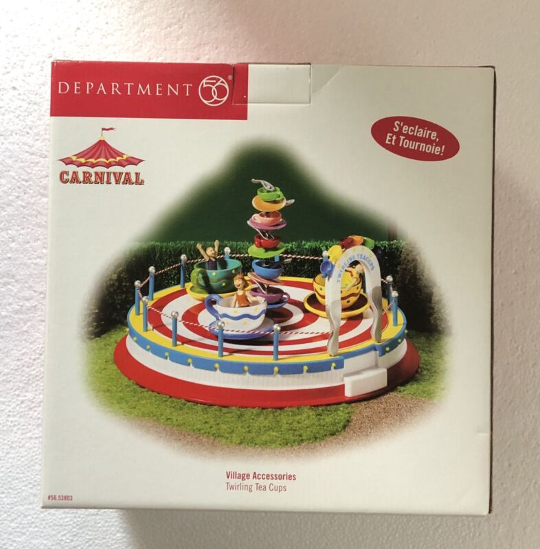 NEW RARE 2004 Department 56 Carnival Twirling Tea Cups #56.53803 DEPT 56