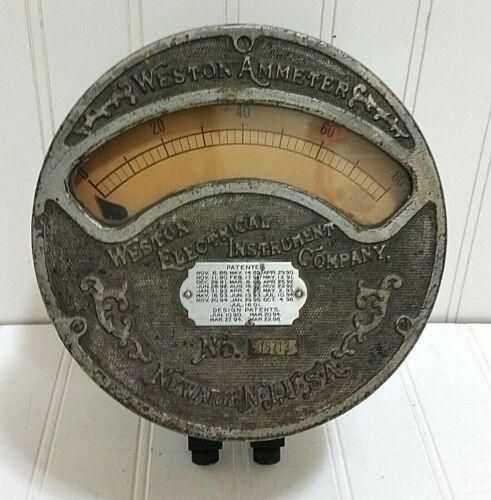 Antique WESTON AMMETER Vintage Electrical Instrument Meter Steampunk 1901 Multi