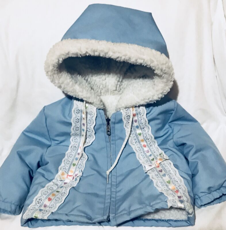 Vintage Baby Girl Jacket Coat Sz 12 Mos Blue Floral Hooded Faux Wool Lined Zip